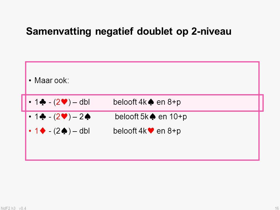 Samenvatting negatief doublet op 2-niveau