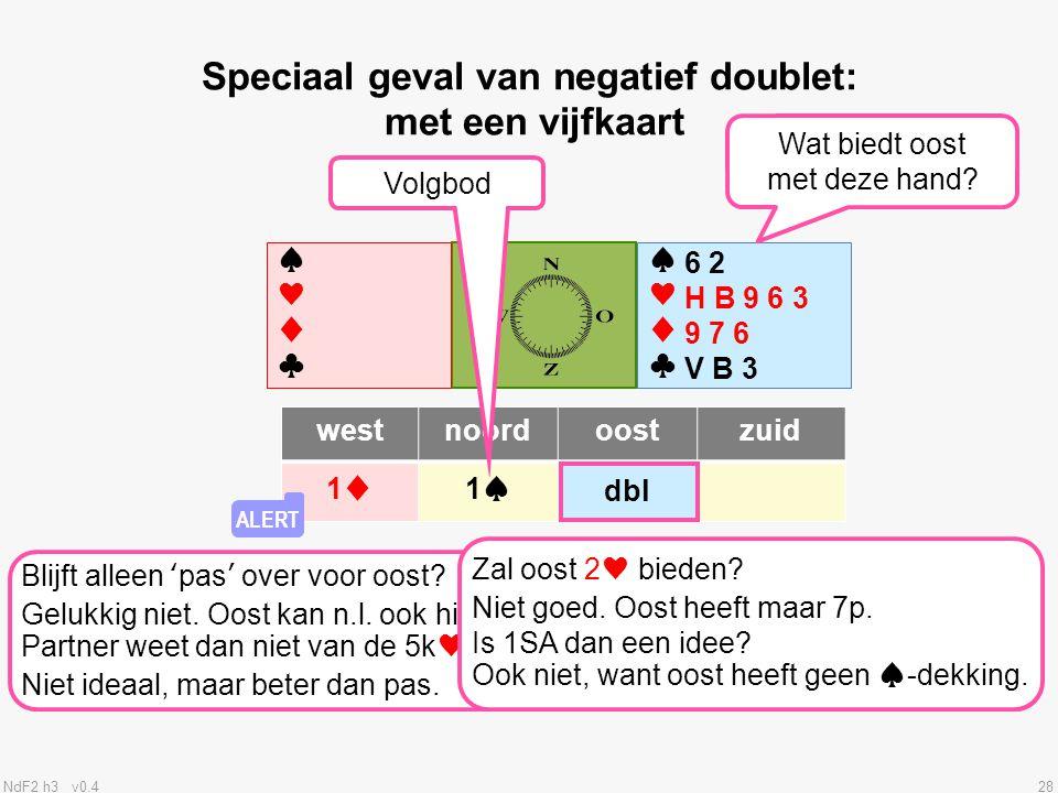 Speciaal geval van negatief doublet: met een vijfkaart
