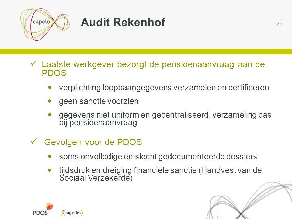 Audit Rekenhof Laatste werkgever bezorgt de pensioenaanvraag aan de PDOS. verplichting loopbaangegevens verzamelen en certificeren.