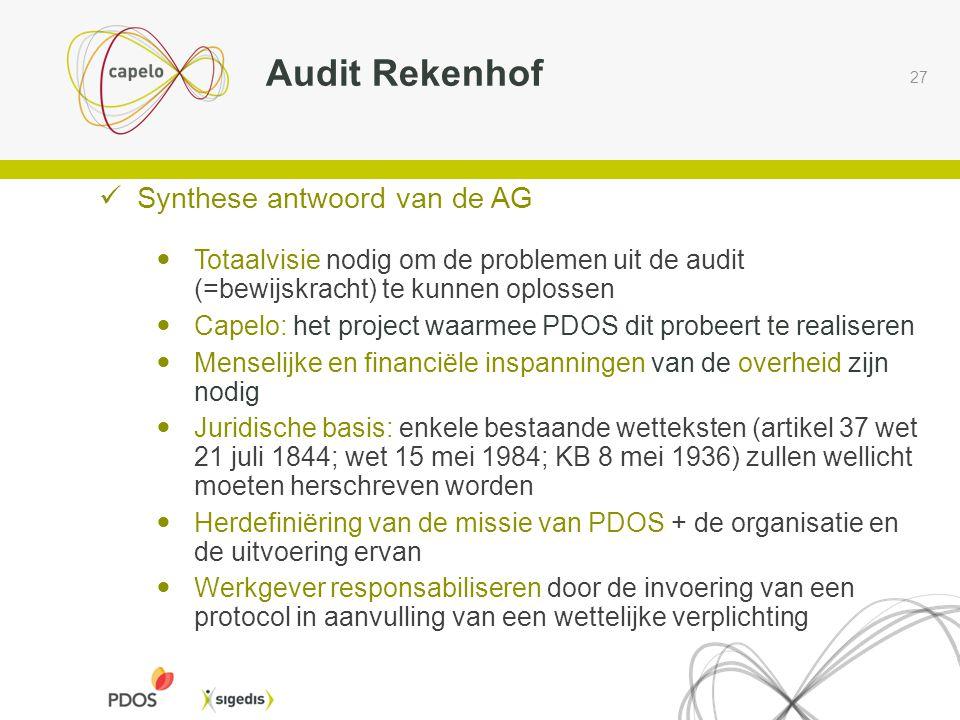 Audit Rekenhof Synthese antwoord van de AG