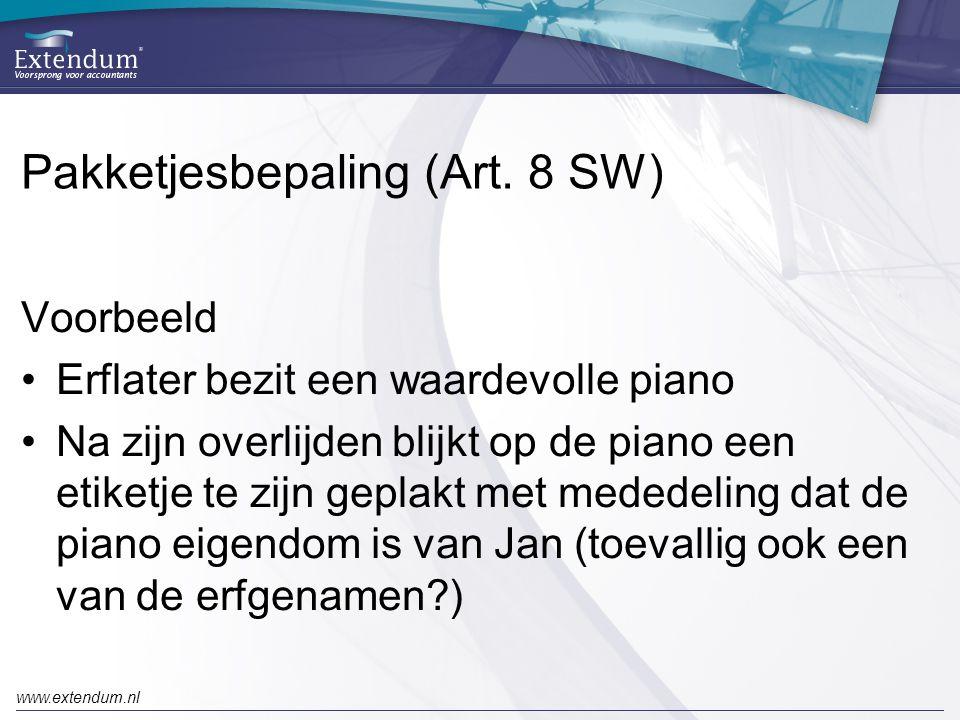 Pakketjesbepaling (Art. 8 SW)