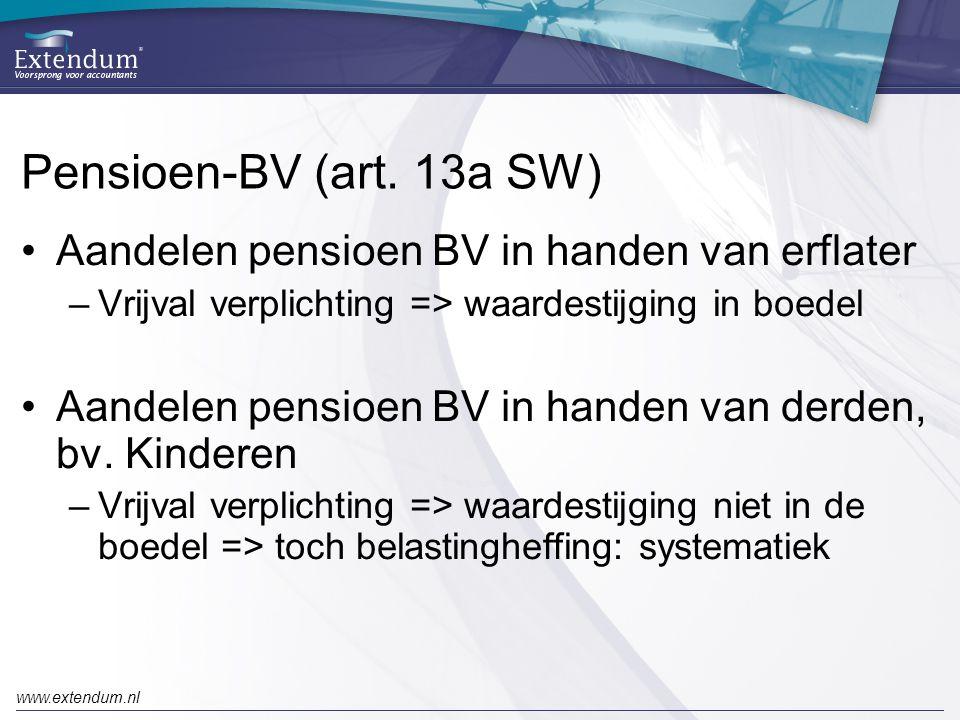 Pensioen-BV (art. 13a SW) Aandelen pensioen BV in handen van erflater