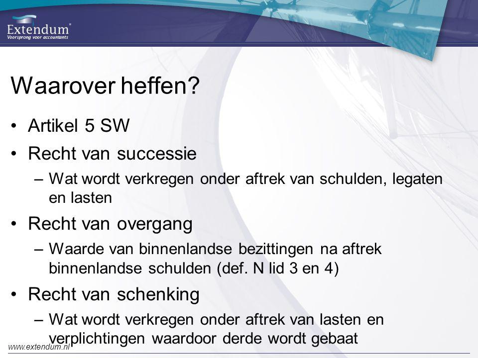 Waarover heffen Artikel 5 SW Recht van successie Recht van overgang