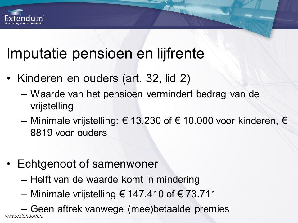 Imputatie pensioen en lijfrente