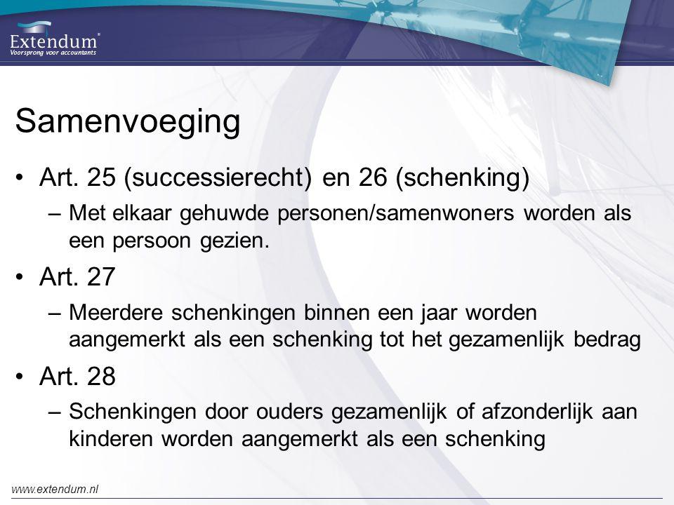Samenvoeging Art. 25 (successierecht) en 26 (schenking) Art. 27