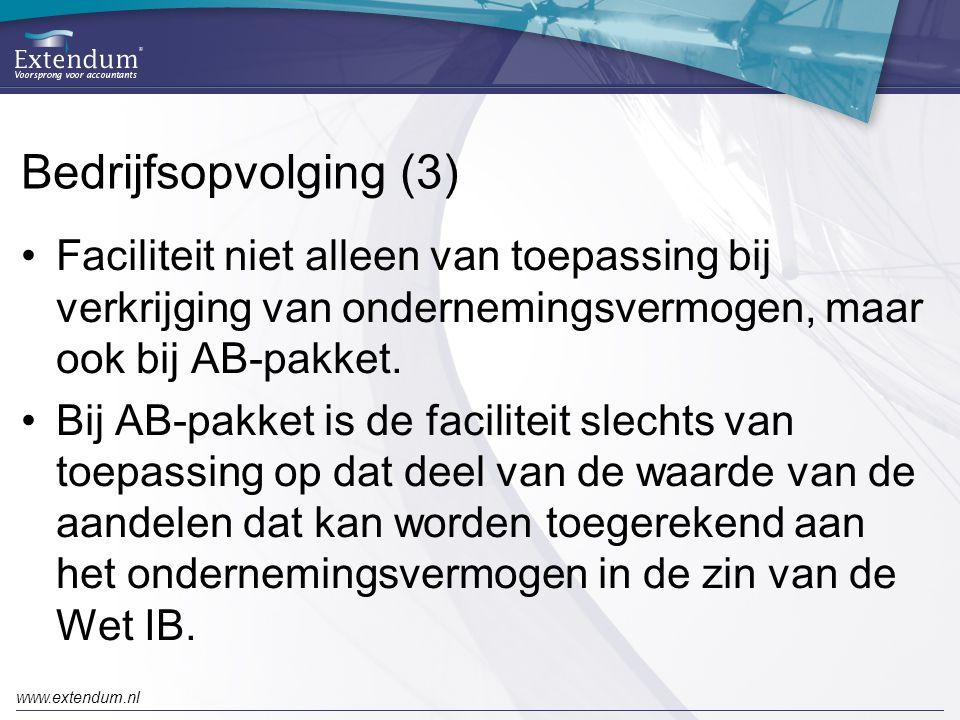Bedrijfsopvolging (3) Faciliteit niet alleen van toepassing bij verkrijging van ondernemingsvermogen, maar ook bij AB-pakket.