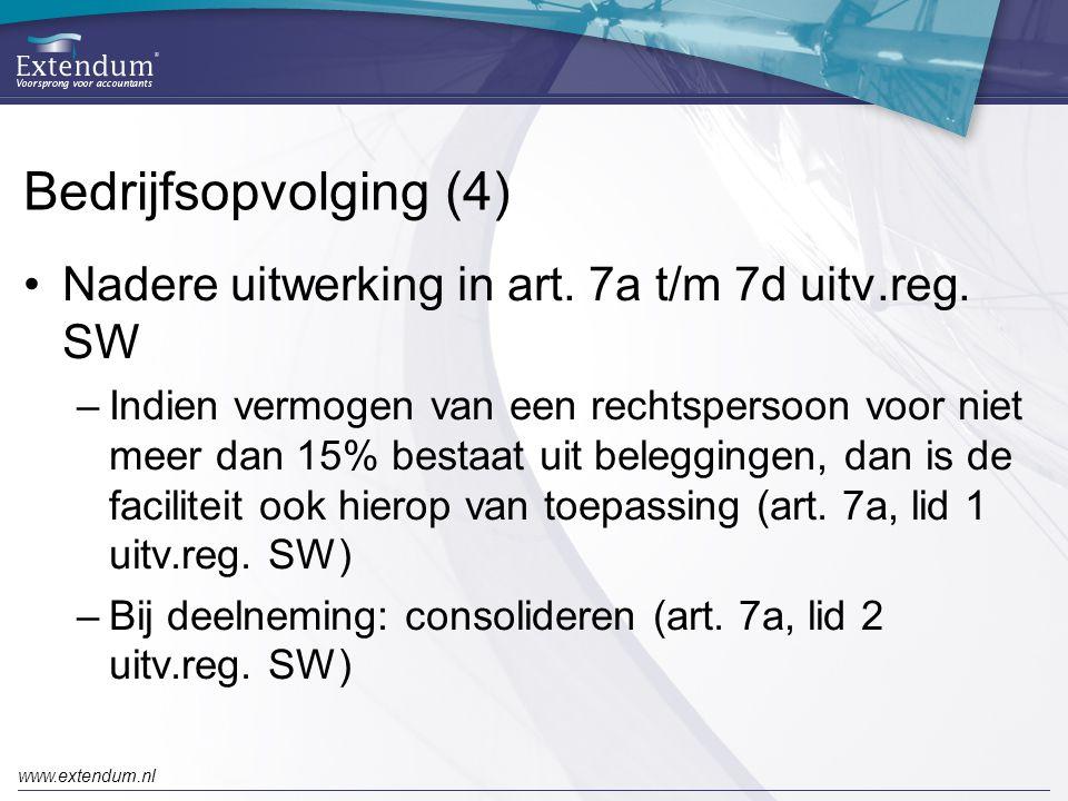 Bedrijfsopvolging (4) Nadere uitwerking in art. 7a t/m 7d uitv.reg. SW