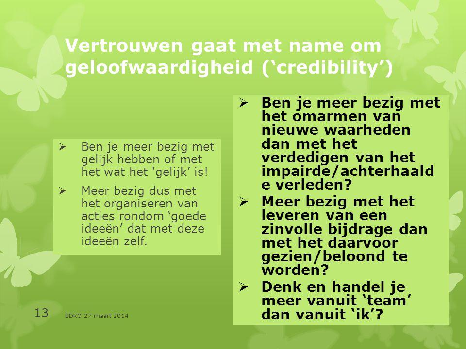 Vertrouwen gaat met name om geloofwaardigheid ('credibility')