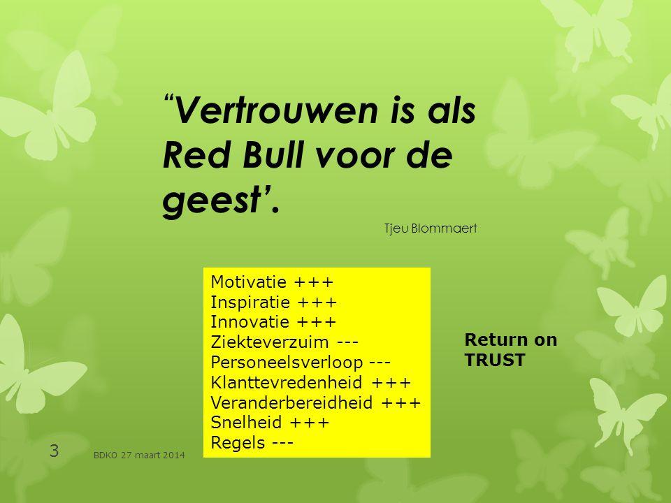Vertrouwen is als Red Bull voor de geest'. Tjeu Blommaert