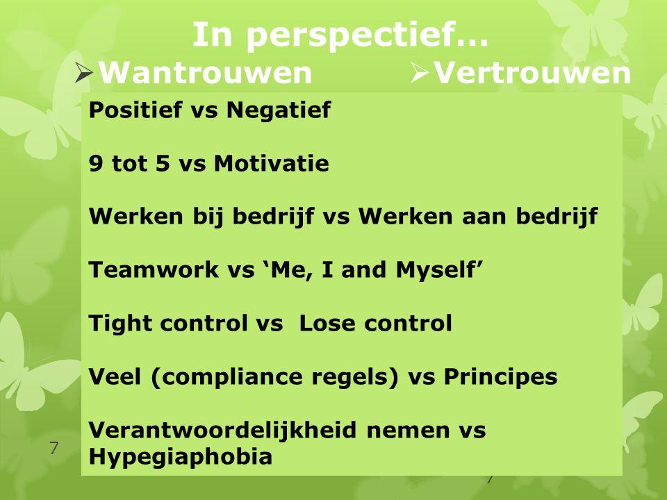 In perspectief… Wantrouwen Vertrouwen Positief vs Negatief
