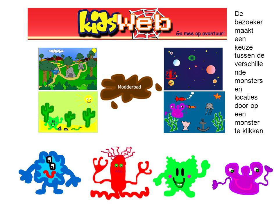 De bezoeker maakt een keuze tussen de verschillende monsters en locaties door op een monster te klikken.