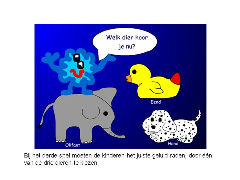 Bij het derde spel moeten de kinderen het juiste geluid raden, door één van de drie dieren te kiezen.