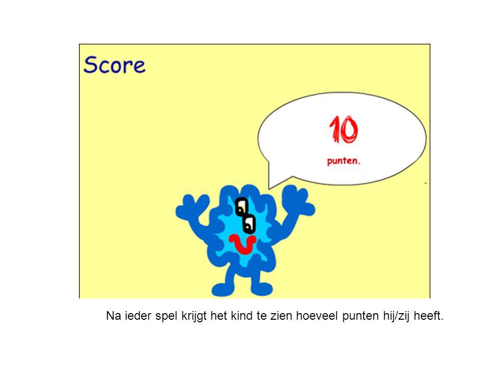 Na ieder spel krijgt het kind te zien hoeveel punten hij/zij heeft.