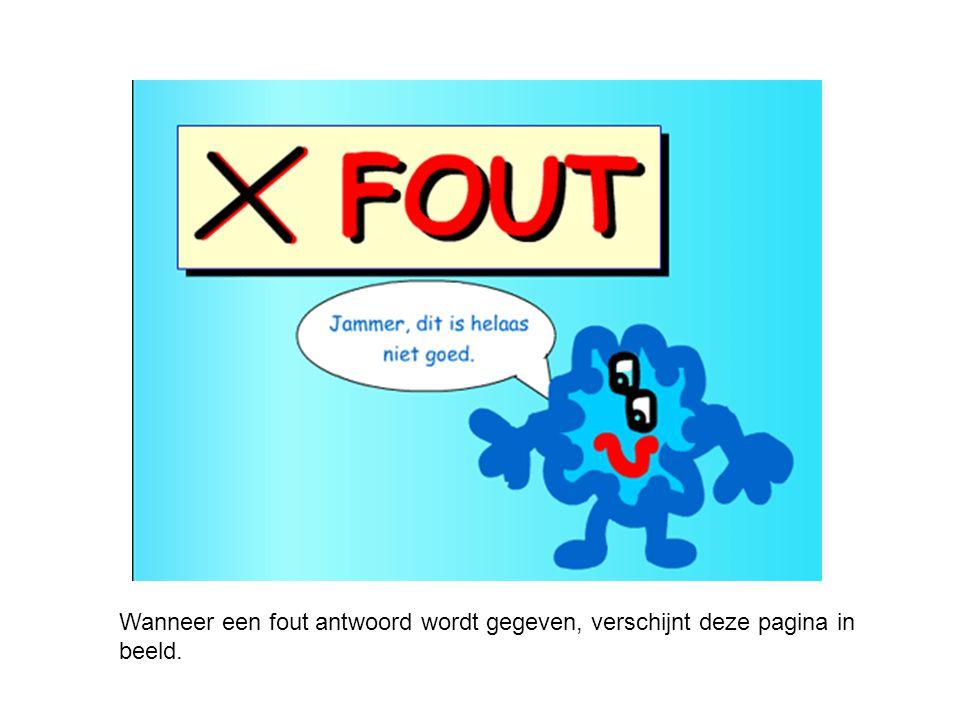 Wanneer een fout antwoord wordt gegeven, verschijnt deze pagina in beeld.