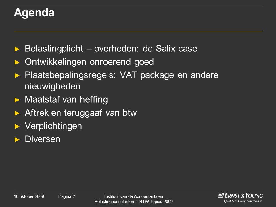 Agenda Belastingplicht – overheden: de Salix case