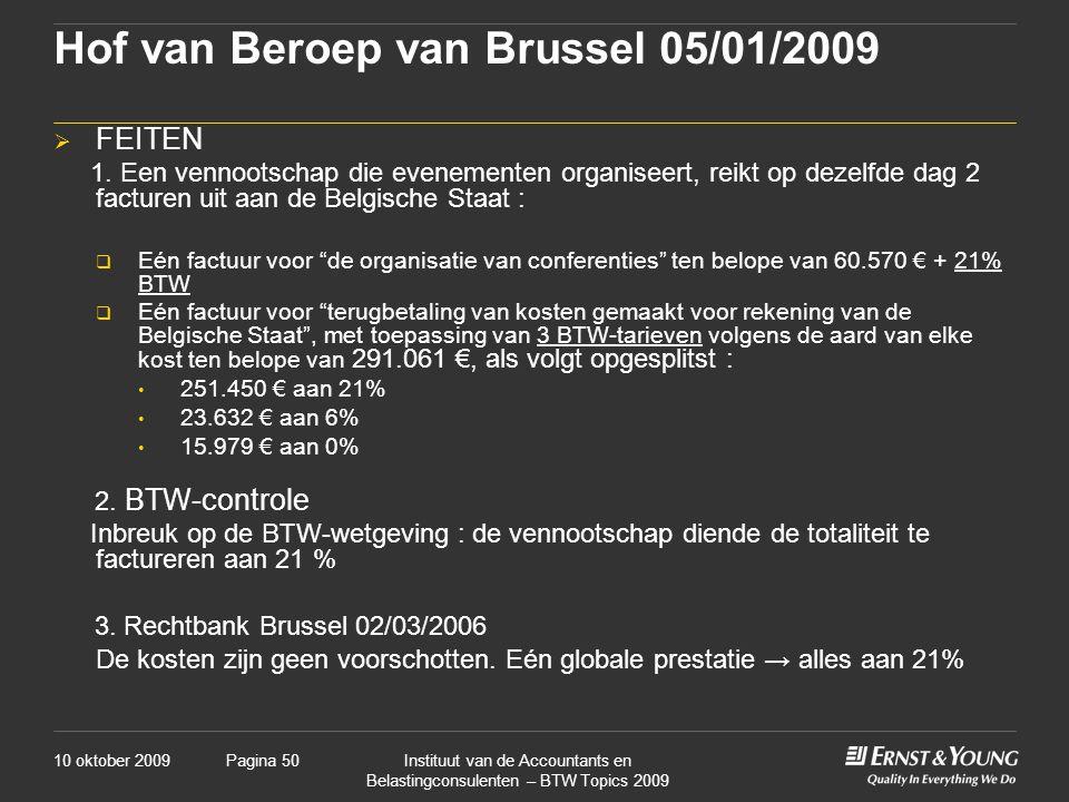 Hof van Beroep van Brussel 05/01/2009