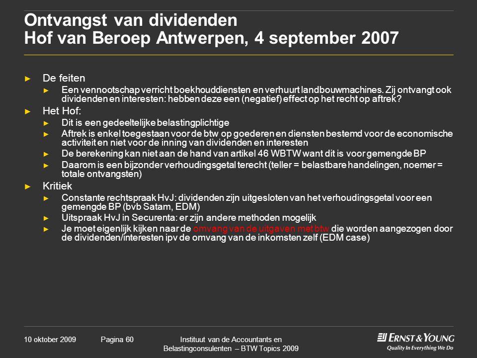 Ontvangst van dividenden Hof van Beroep Antwerpen, 4 september 2007