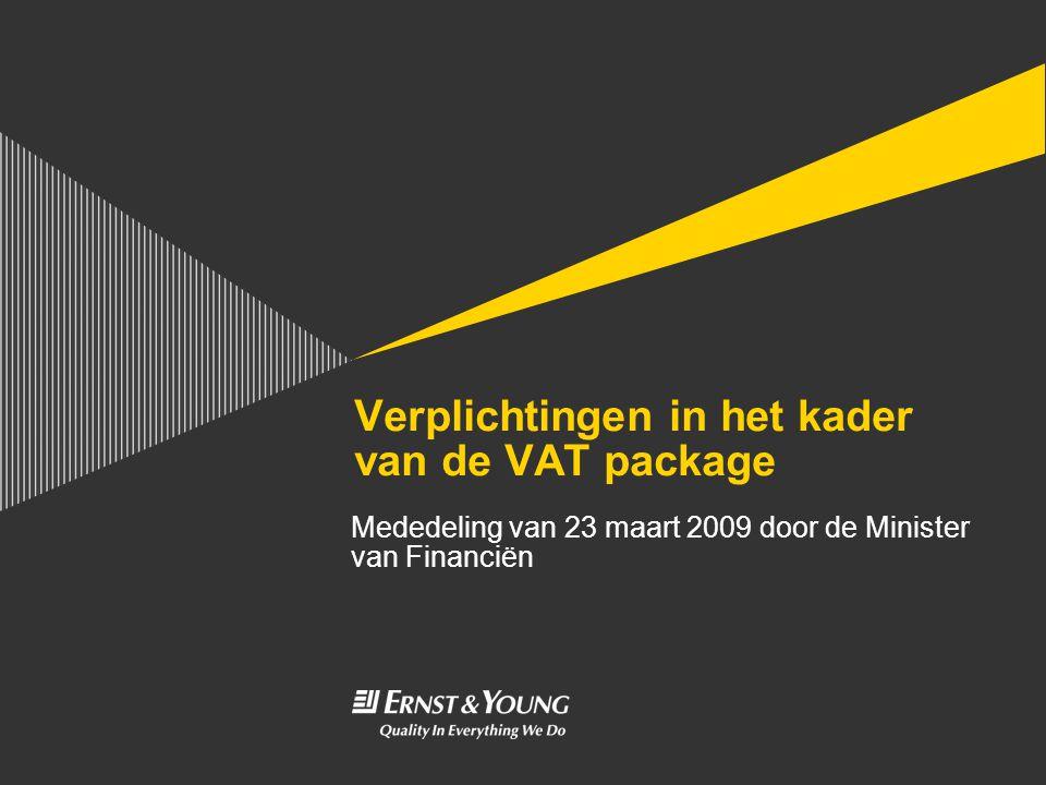 Verplichtingen in het kader van de VAT package