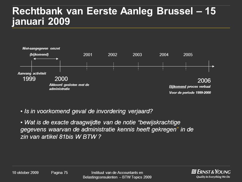 Rechtbank van Eerste Aanleg Brussel – 15 januari 2009