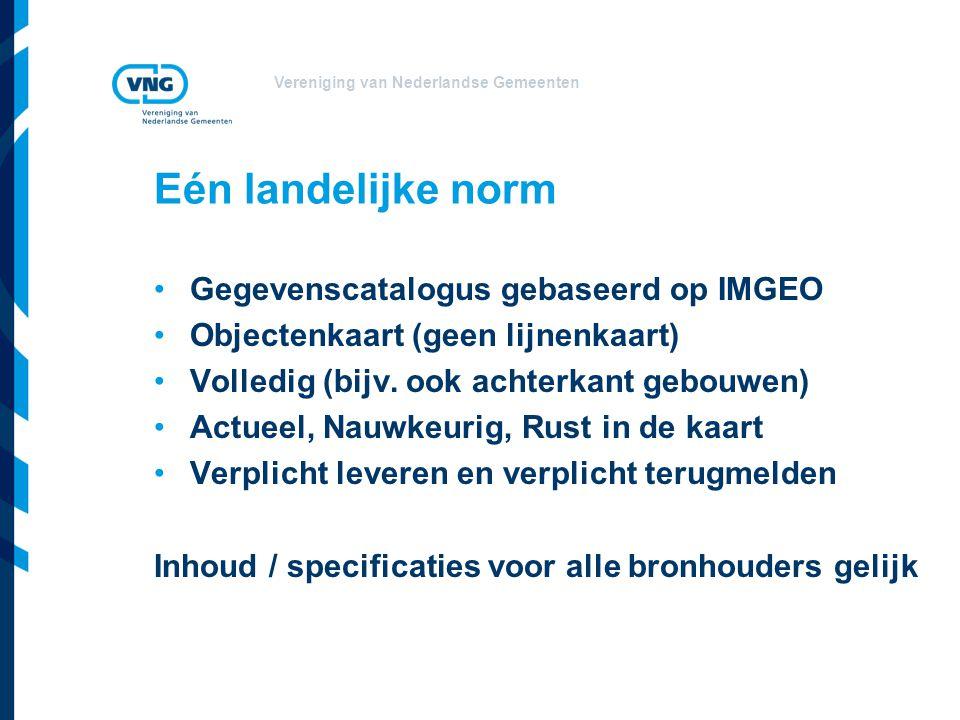 Eén landelijke norm Gegevenscatalogus gebaseerd op IMGEO