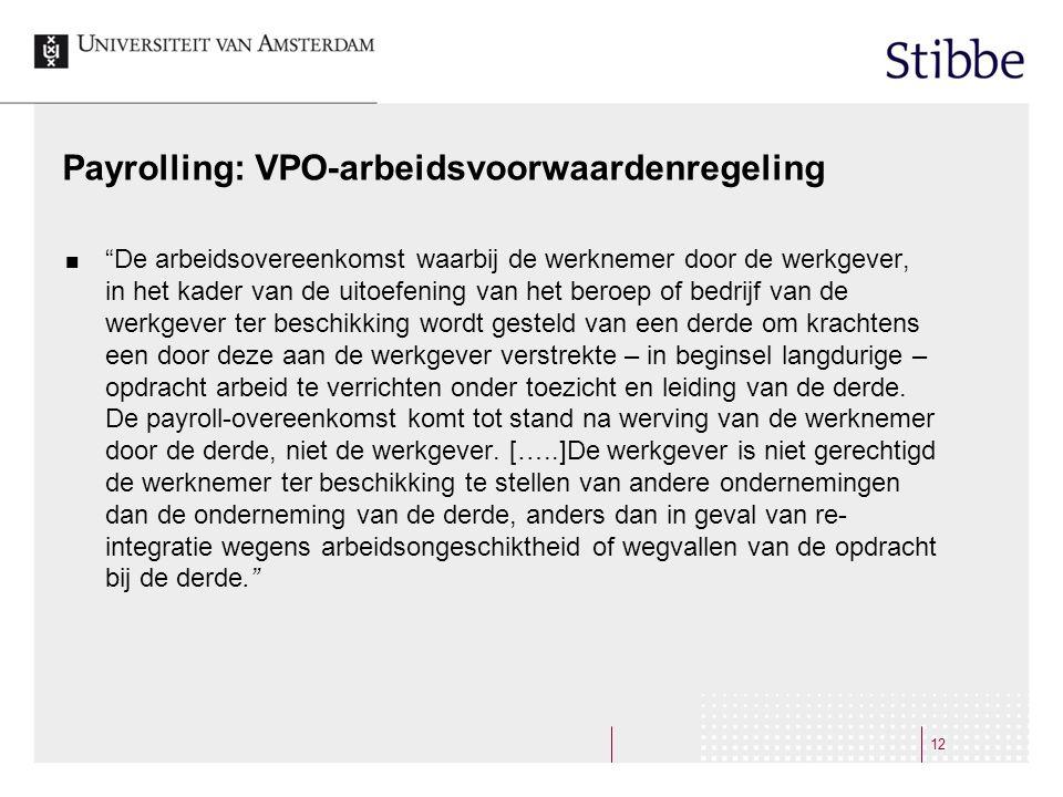 Payrolling: VPO-arbeidsvoorwaardenregeling