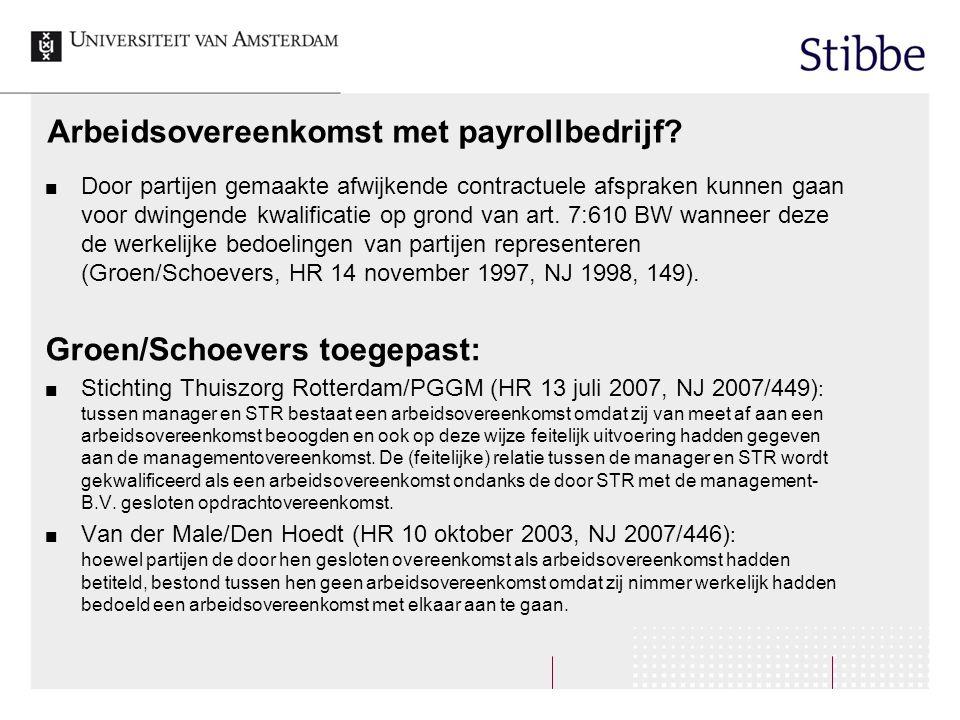 Arbeidsovereenkomst met payrollbedrijf