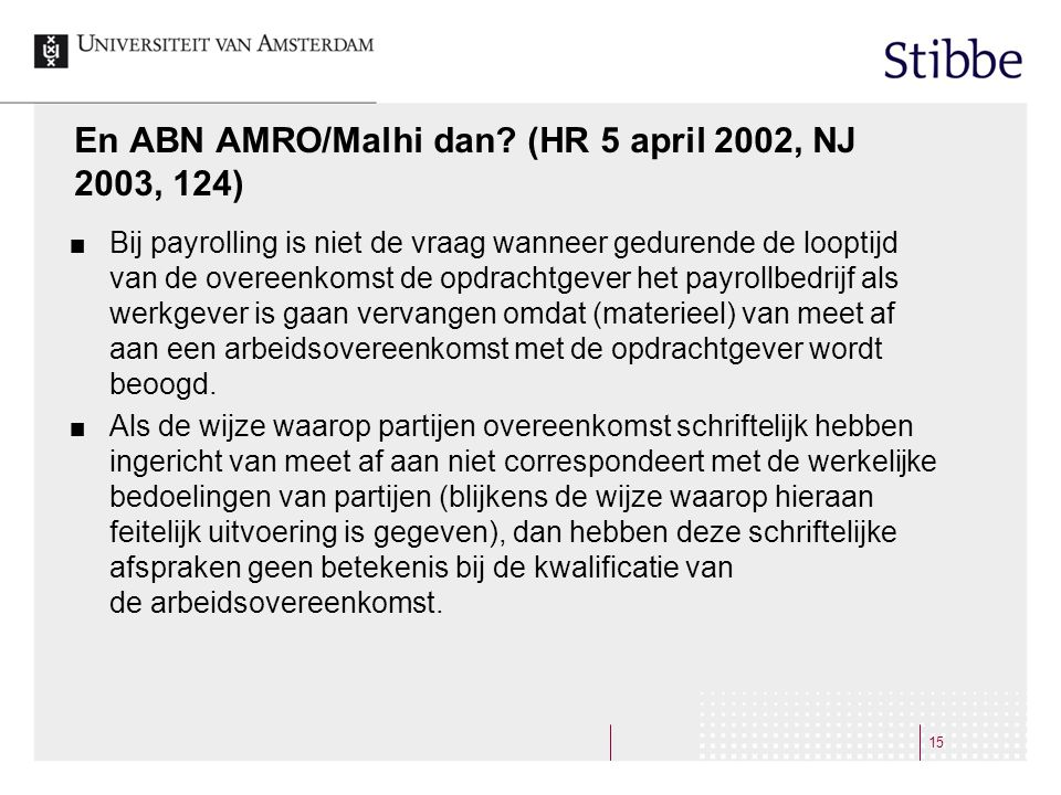 En ABN AMRO/Malhi dan (HR 5 april 2002, NJ 2003, 124)