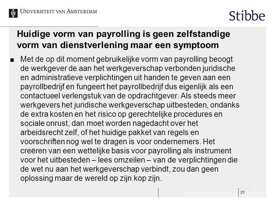 Huidige vorm van payrolling is geen zelfstandige vorm van dienstverlening maar een symptoom