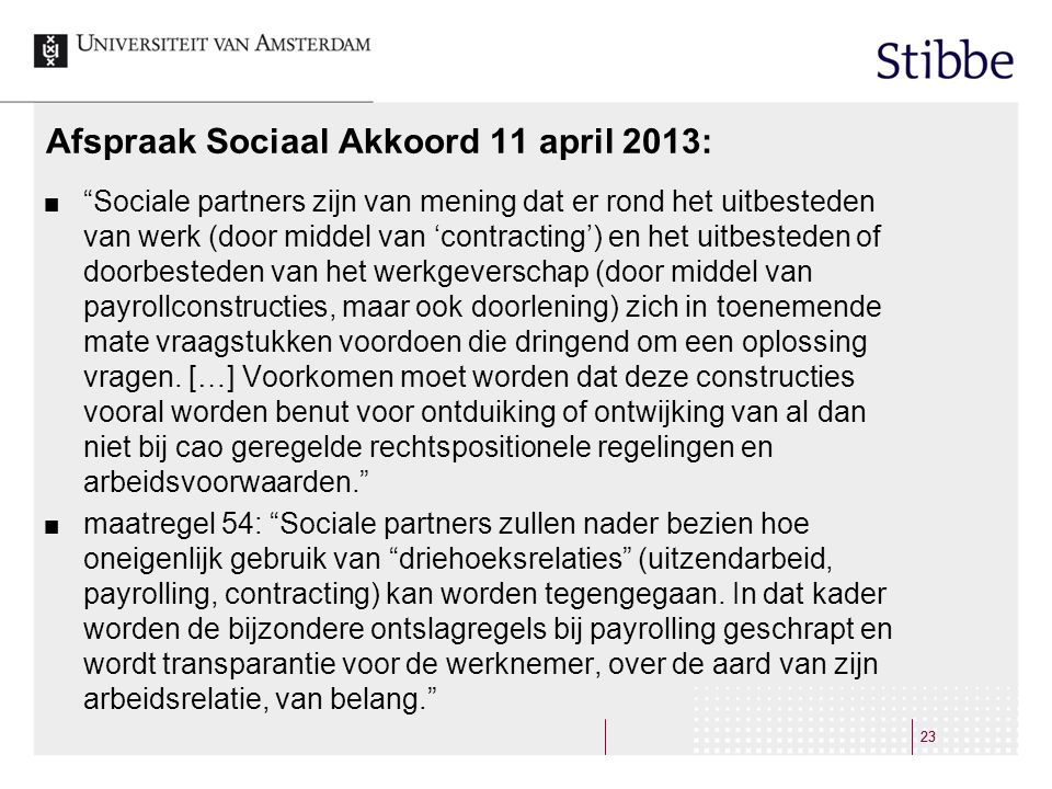 Afspraak Sociaal Akkoord 11 april 2013: