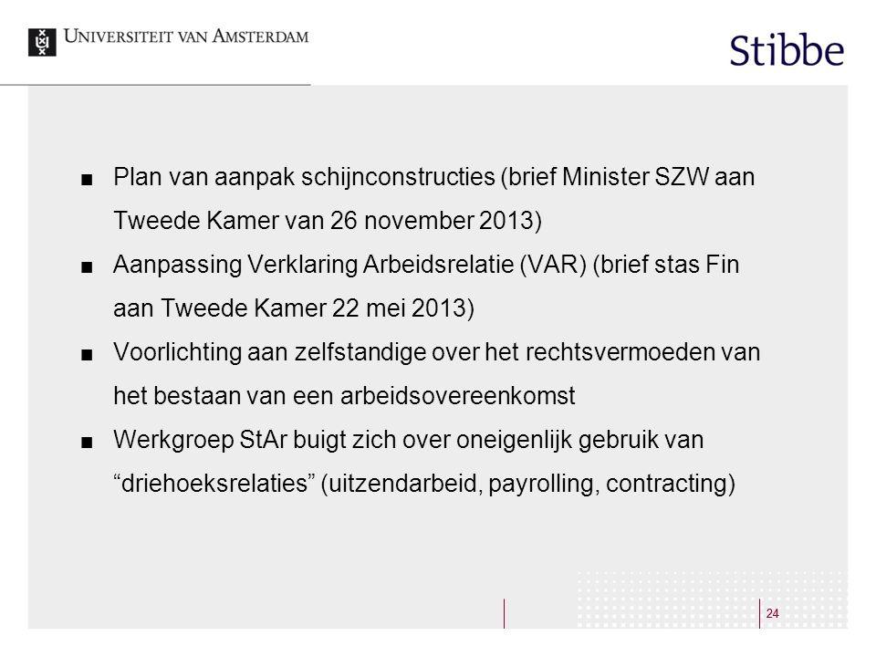 Plan van aanpak schijnconstructies (brief Minister SZW aan Tweede Kamer van 26 november 2013)