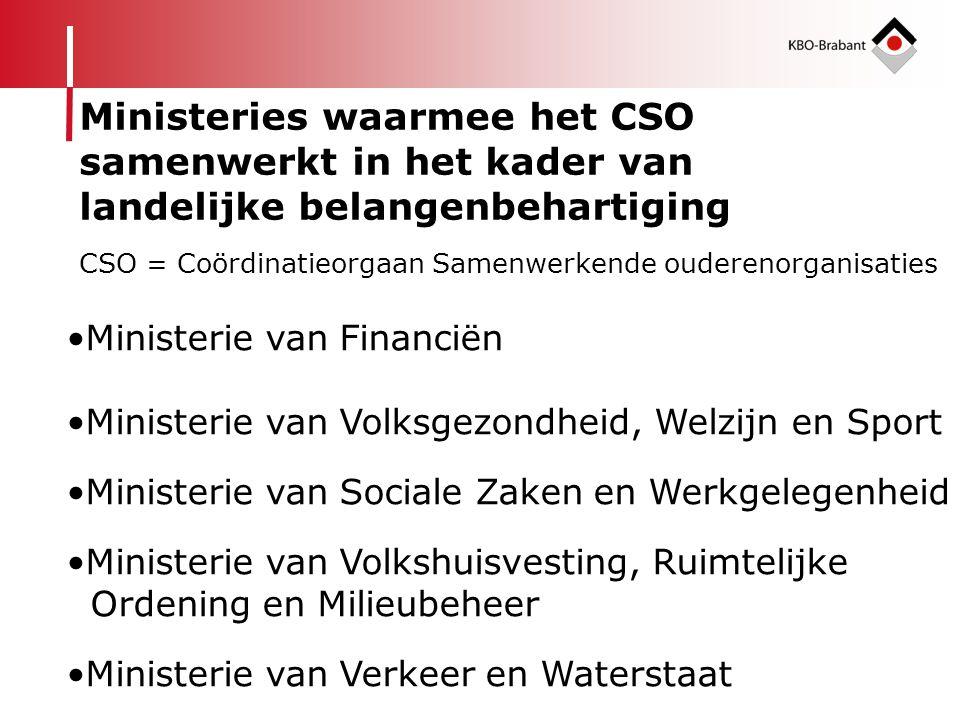 Ministeries waarmee het CSO samenwerkt in het kader van