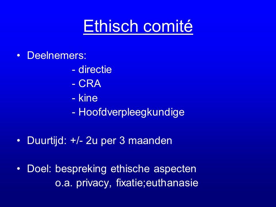 Ethisch comité Deelnemers: - directie - CRA - kine