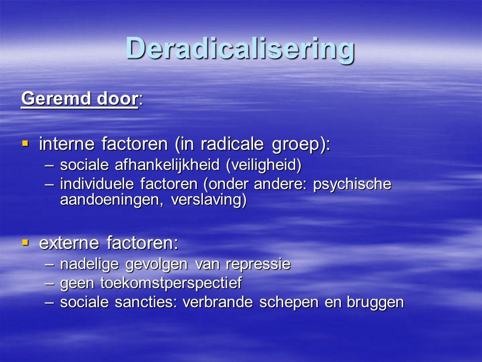 Deradicalisering Geremd door: interne factoren (in radicale groep):