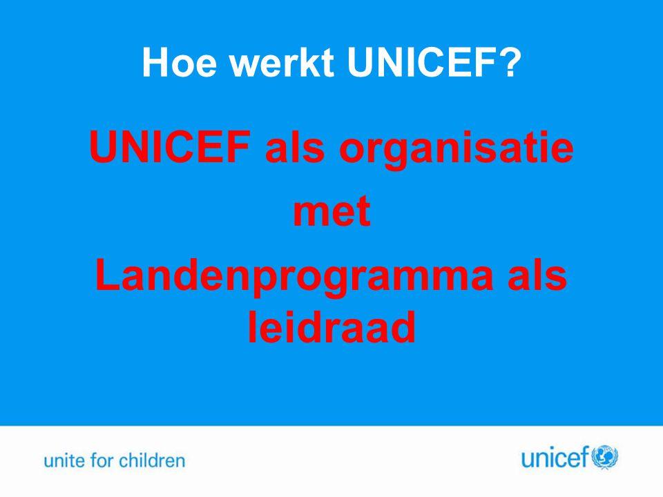 UNICEF als organisatie Landenprogramma als leidraad