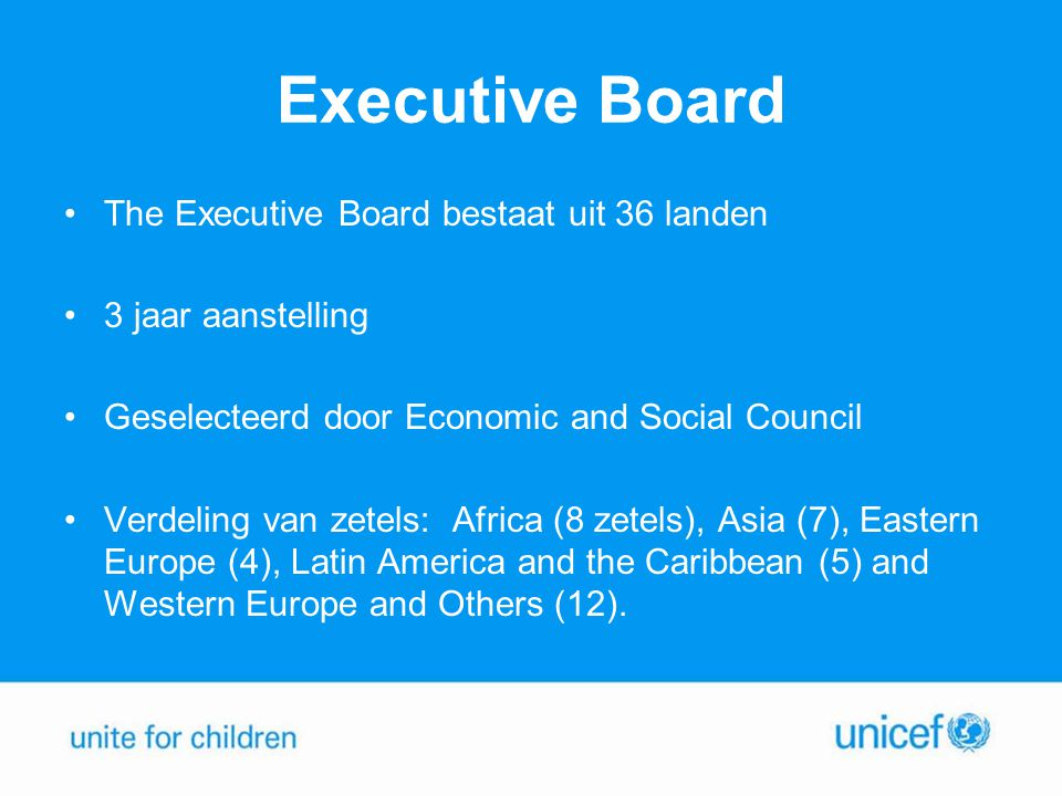 Executive Board The Executive Board bestaat uit 36 landen