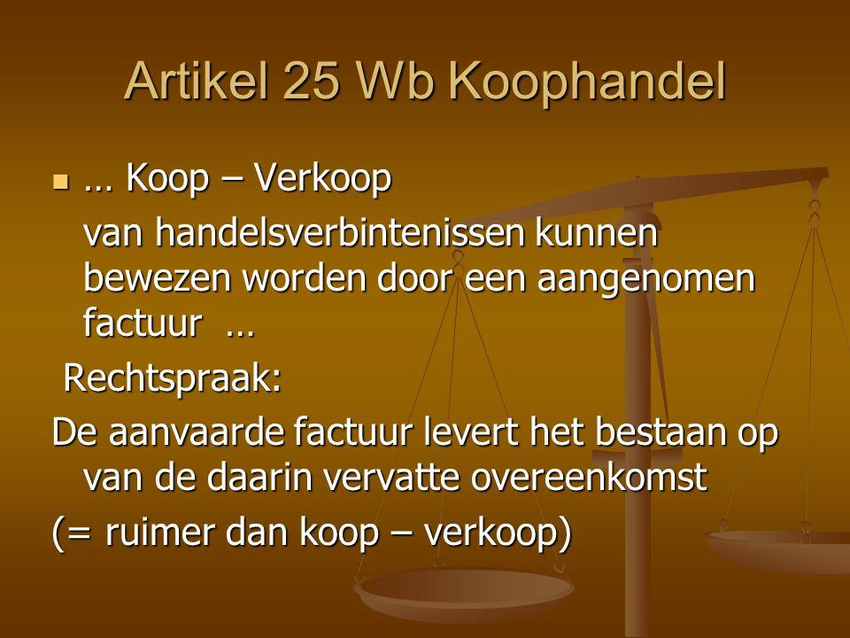 Artikel 25 Wb Koophandel … Koop – Verkoop