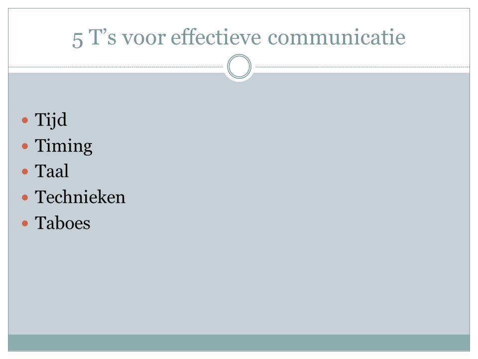 5 T's voor effectieve communicatie