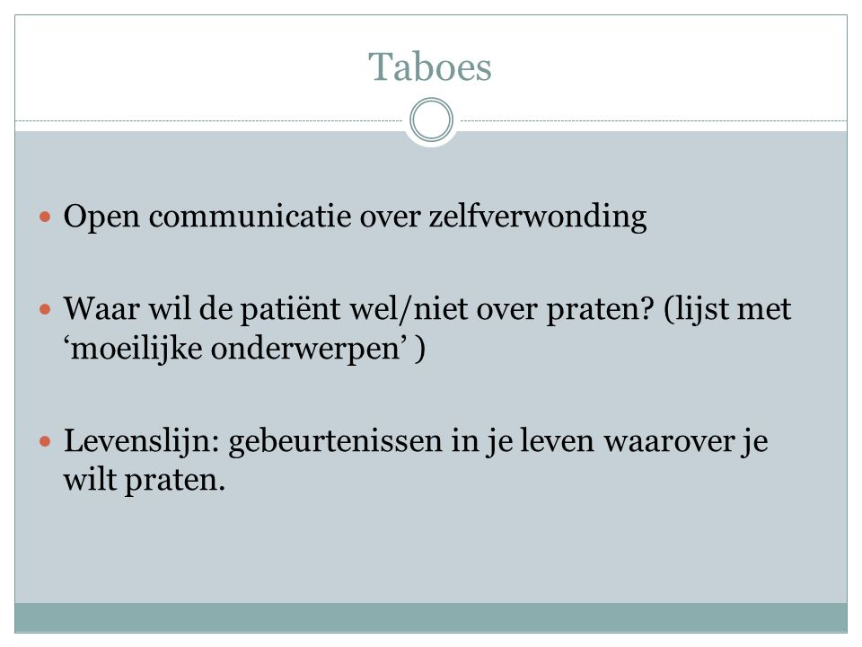 Taboes Open communicatie over zelfverwonding