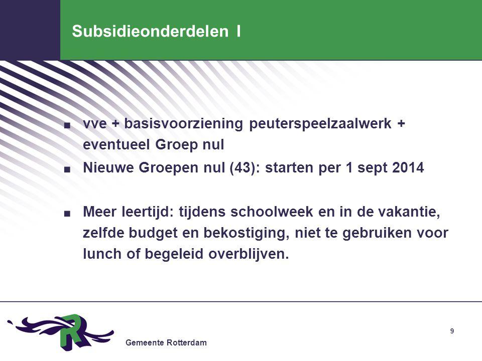 Subsidieonderdelen I vve + basisvoorziening peuterspeelzaalwerk + eventueel Groep nul. Nieuwe Groepen nul (43): starten per 1 sept 2014.