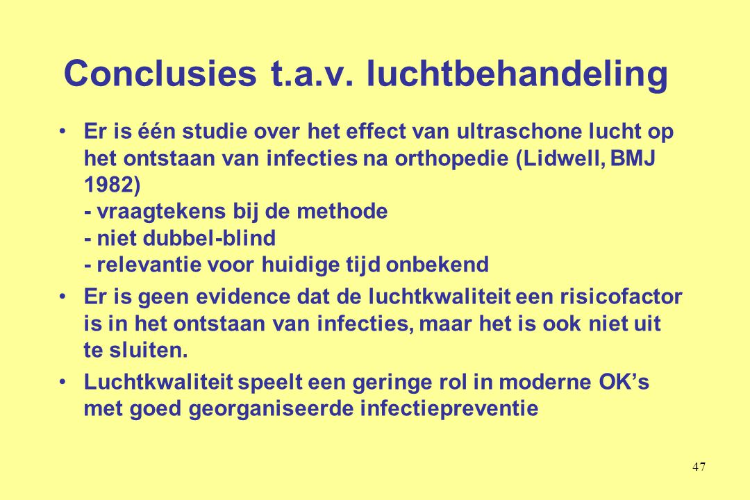 Conclusies t.a.v. luchtbehandeling