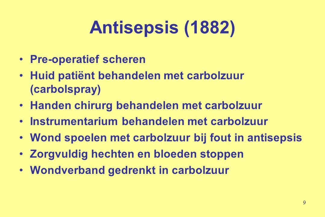 Antisepsis (1882) Pre-operatief scheren