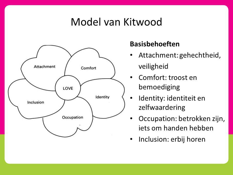 Model van Kitwood Basisbehoeften Attachment: gehechtheid, veiligheid