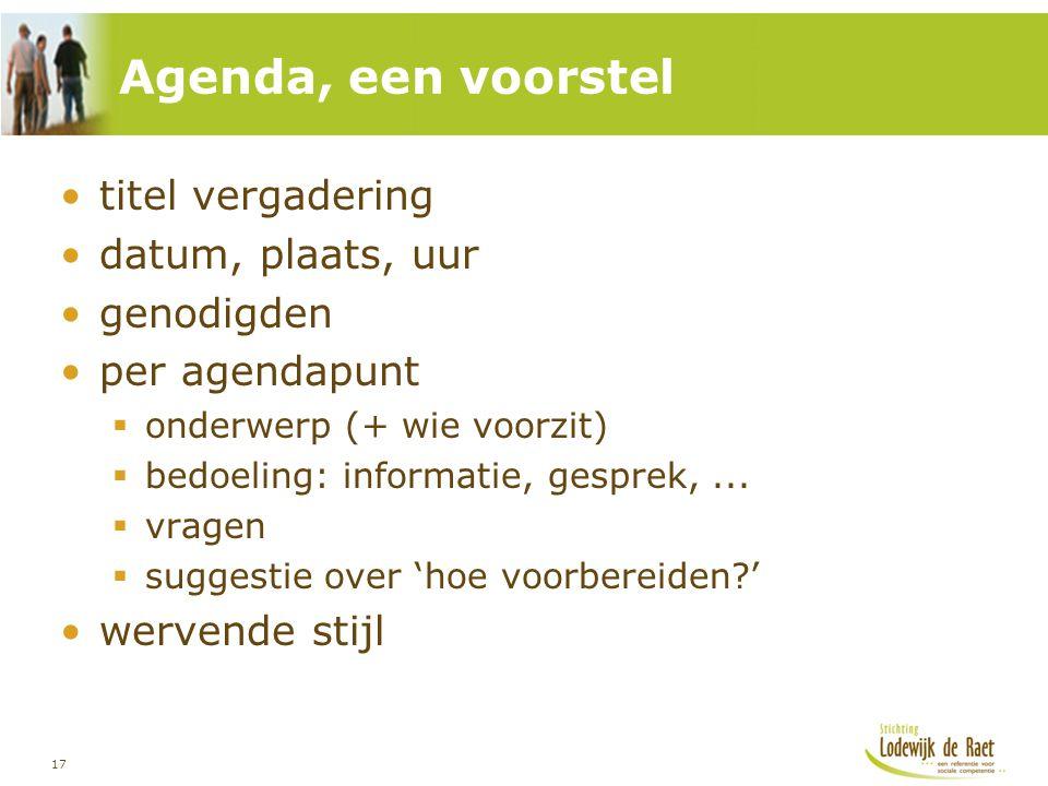 Agenda, een voorstel titel vergadering datum, plaats, uur genodigden