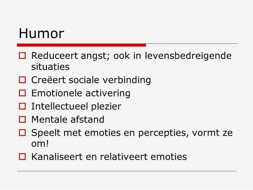 Humor Reduceert angst; ook in levensbedreigende situaties