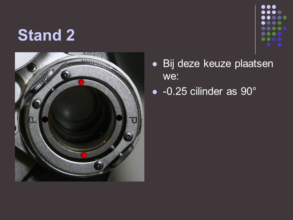 Stand 2 Bij deze keuze plaatsen we: -0.25 cilinder as 90°