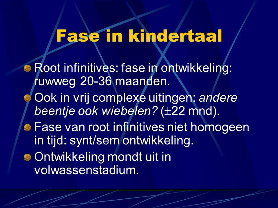 Fase in kindertaal Root infinitives: fase in ontwikkeling: ruwweg 20-36 maanden.