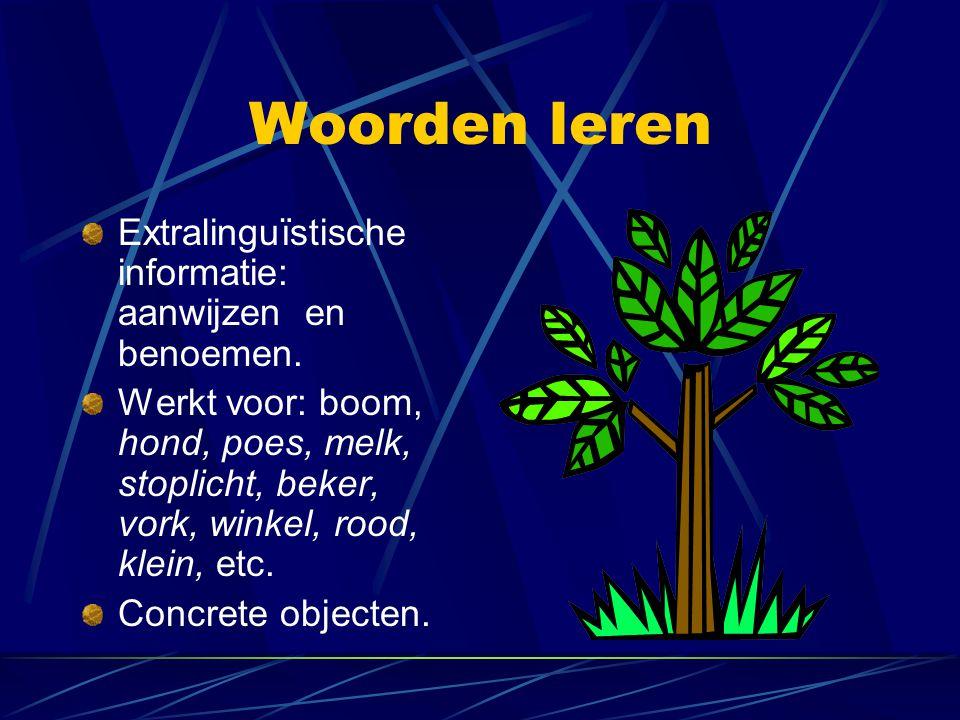 Woorden leren Extralinguïstische informatie: aanwijzen en benoemen.