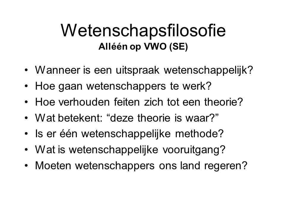 Wetenschapsfilosofie Alléén op VWO (SE)