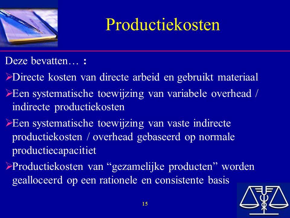 Productiekosten Deze bevatten… :