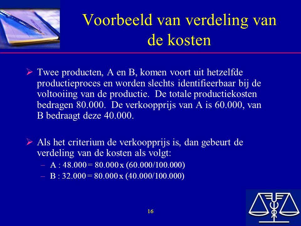 Voorbeeld van verdeling van de kosten